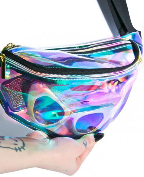Hologram fanny pack handbag purse clutch
