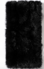 Leather Rabbit fur black clutch handbag purse