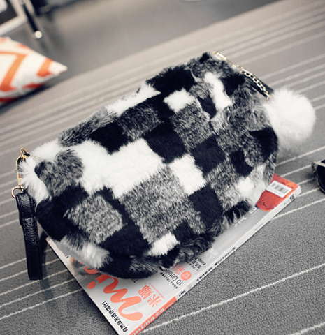 Faux Fur Crossbody bag purse handbag purse messenger bag clutch