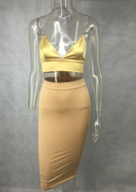 Satin Crop Top Set