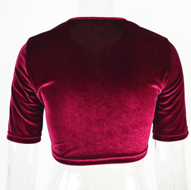 Red Lace up Velvet Crop top