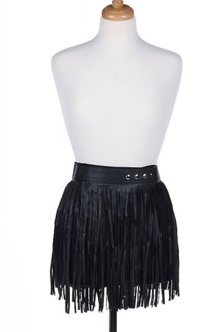 "30"" - 39"" waist black faux leather fringe tassel belt skirt 15"" length"