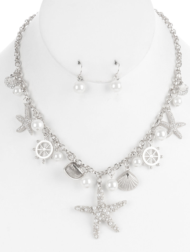 "18"" faux pearl starfish charm nautical sea life necklace .30"" earrings"