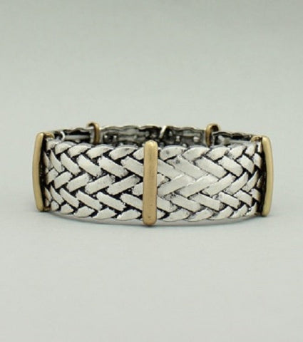 ".75"" silver gold woven stretch bracelet bangle"