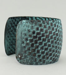 "7.50"" patina textured bangle bracelet cuff 1.75"" wide"