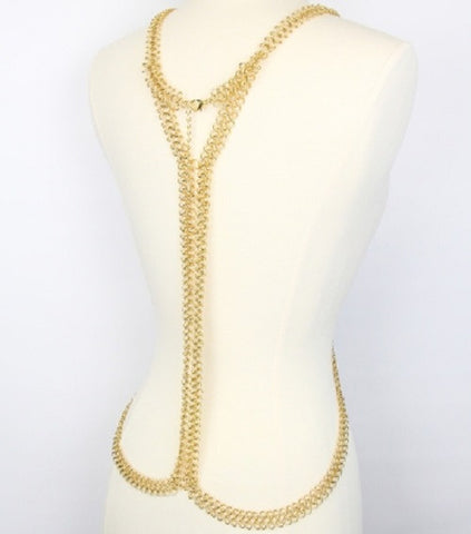 X link body chain bib collar choker statement necklace