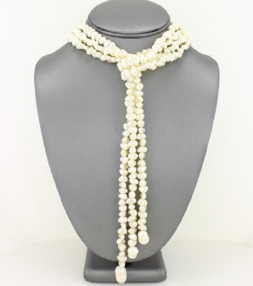 "17"" faux pearl tassel fringe choker collar necklace"