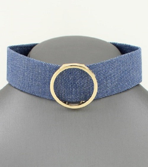 "12"" circle slide blue jean denim collar choker necklace .15"" earrings 1"" wide"