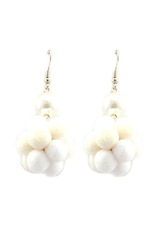 "2"" cream dangle pom pom faux fur boho earrings pierced"