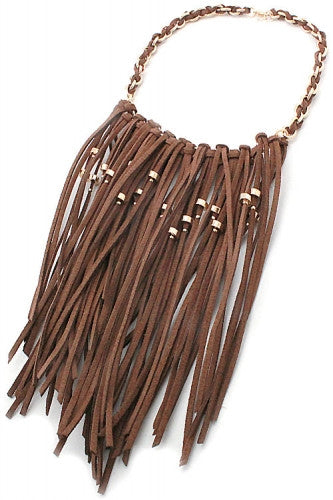 "16"" brown gold suede 7"" tassel fringe collar choker necklace 2"" earrings"