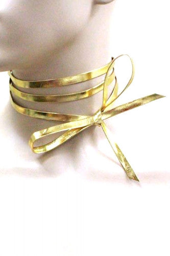 "58.50"" gold faux leather tie wrap choker collar bib necklace boho"