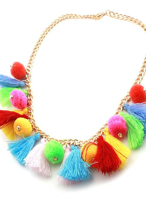 "17.50"" red pom pom tassel fringe boho bib necklace earrings"