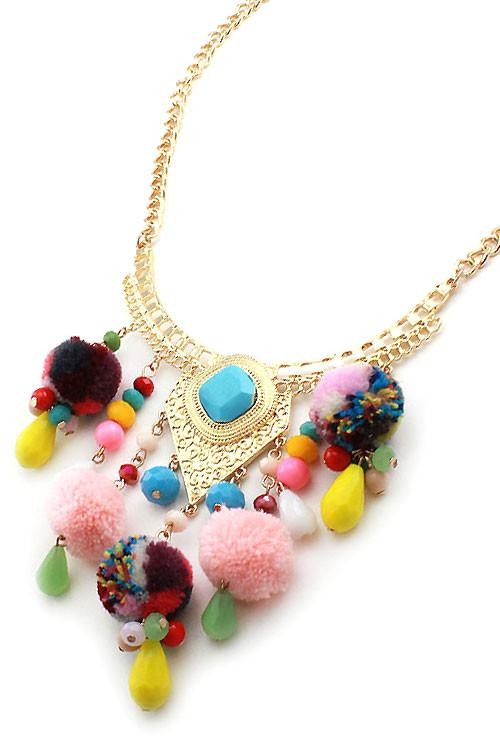 "17"" multi bead pom pom faux fur boho bib necklace 1.25"" earrings"