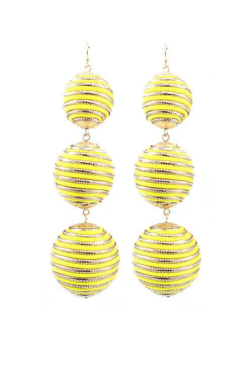 "4"" yellow dangle pom pom boho huge earrings pierced"
