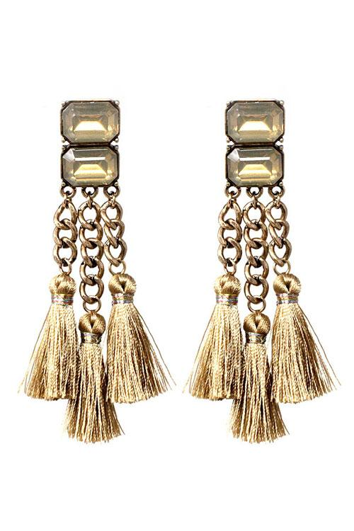 "3.50"" crystal gold fabric tassel fringe boho earrings"