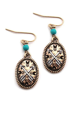 "1.25"" arrow boho tiny earrings"