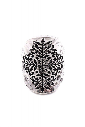"1"" silver etched boho stretch ring"