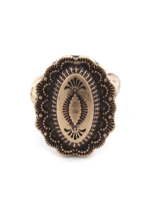 "1"" gold tribal boho stretch ring free size"
