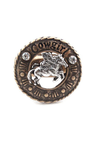 "1"" crystal cowboy horse stretch ring western cowgirl boot"