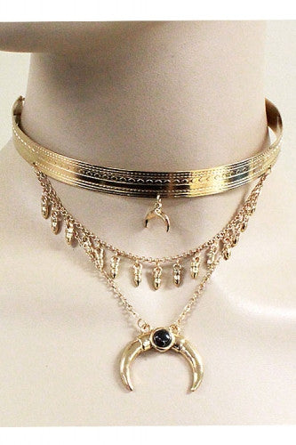 "14"" gold moon pendant layered choker collar necklace .50"" earrings"