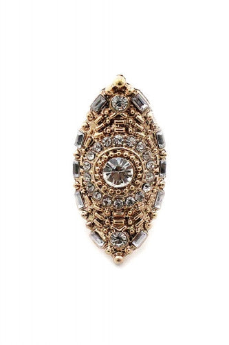 "1.75"" gold crystal pave boho stretch ring"