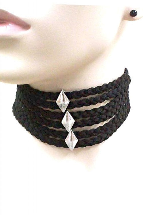 "12.25"" black braided choker bib collar necklace .25"" earrings 1"" wide"