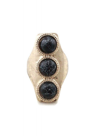 "1.25"" gold black stones boho stretch ring"