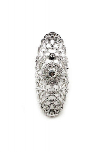 "2.25"" crystal filigree boho stretch ring"