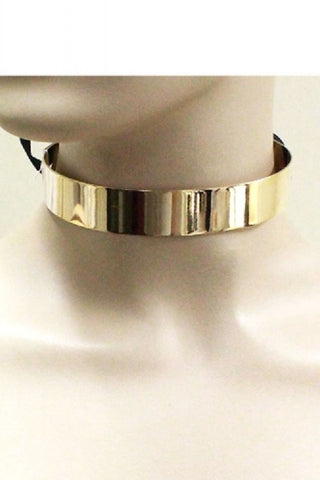 "10"" gold fabric tie cuff collar choker necklace .75"" wide"