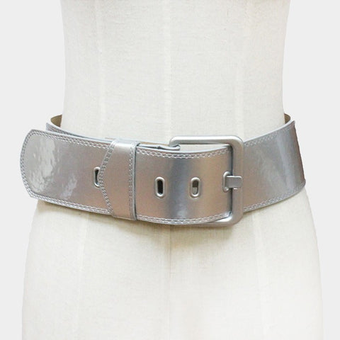 "31"" - 36"" waist patent faux leather corset belt 2.85"" wide"