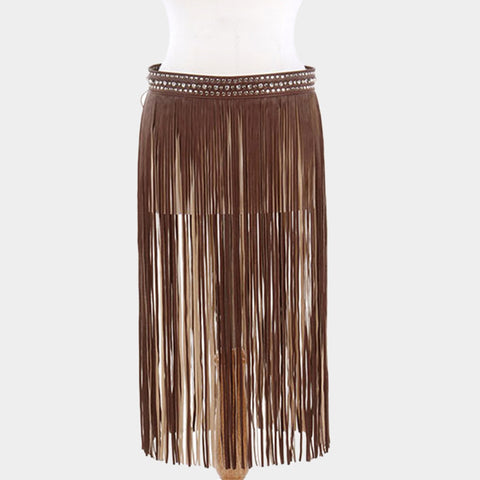 "28"" - 40"" crystal studed snap waist faux leather fringe tassel belt skirt 27"" length"