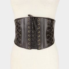 "28"" waist faux leather corset belt 6.75"" wide elastic stretch snap back"
