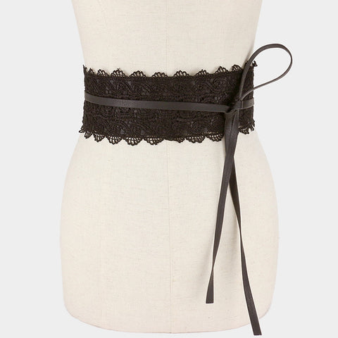 "30"" long faux leather lace corset wrap belt 4"" wide"