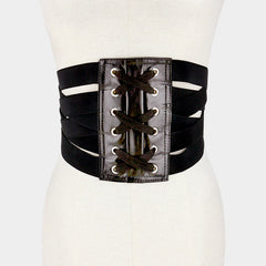 "32"" black faux leather cinch corset belt 7"" wide"