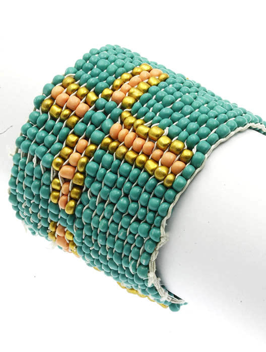 "2.25"" wide yellow seed bead stretch boho bracelet cuff bangle"