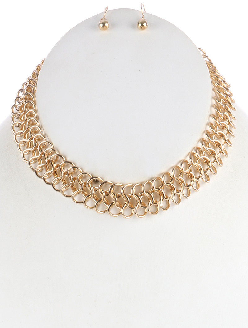 "10"" infinity link multi layers strand choker collar Necklace earrings"