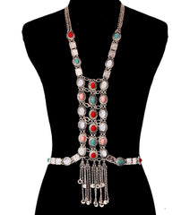 multi turquoise stone vest body chain collar bib choker necklace armor