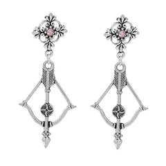 "2.25"" silver pink crystal arrow dangle boho earrings"