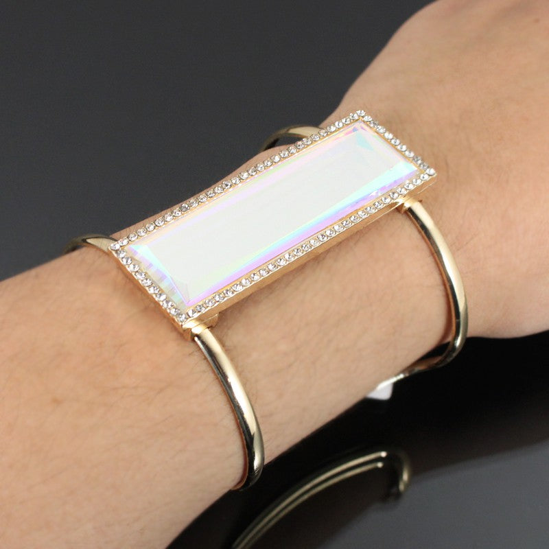 "6.50"" gold ab 2.55"" rectangle bangle cuff link bracelet"