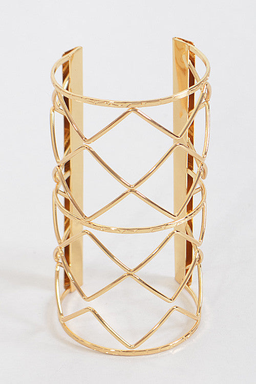 "7.25"" wide zig zag cuff bracelet bangle 5"" long"