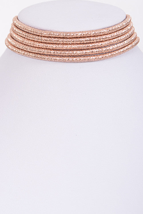 "14.50"" metallic cord coil multi strand 5 row collar choker magnetic necklace .75"" wide"