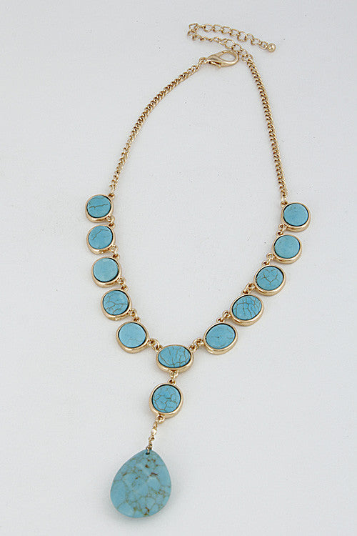 "14"" turquoise drop choker necklace faux stone"