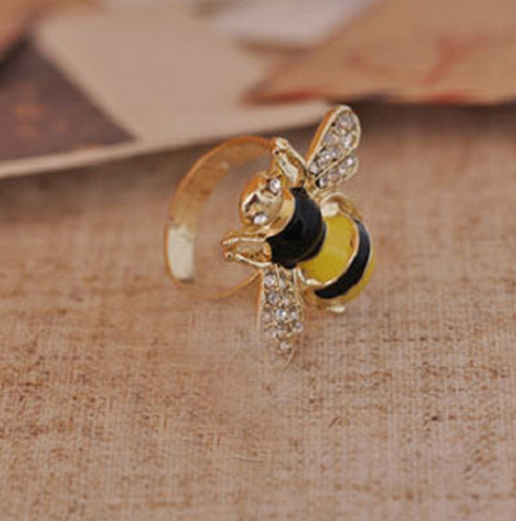 "1"" black yellow crystal bee adjustable ring"