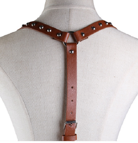 "25"" - 31"" waist brown faux leather cage body chain adjustable"