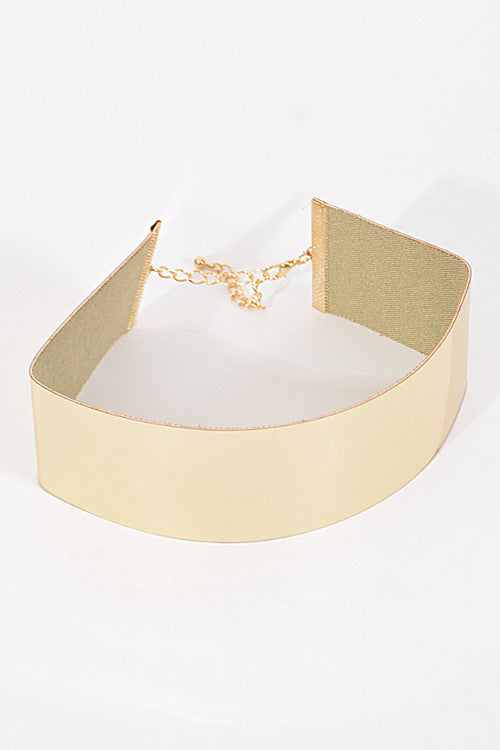 "15"" gold shiny choker necklace 1.50"" wide"