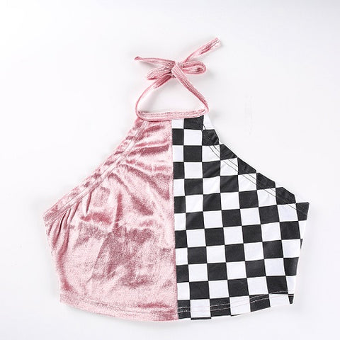 pink back out velvet checker Halter Crop Top