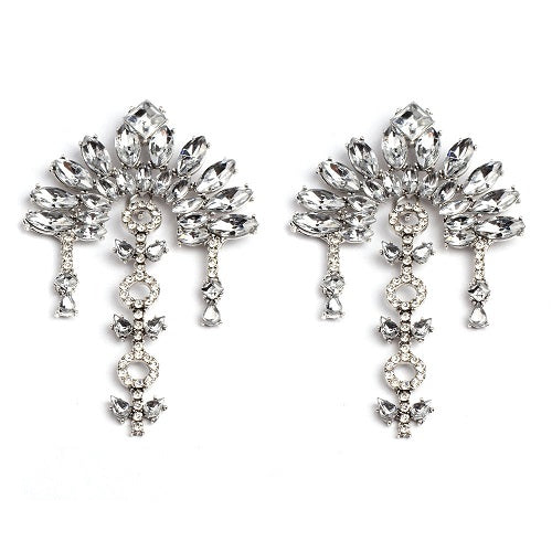 "3.50"" clear crystal dangle large pierced earrings basketball wives"