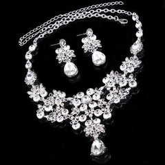 "16"" crystal necklace 2"" pierced earrings bridal prom"
