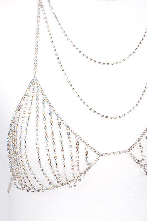 silver layered crystal bra body chain bikini swimsuit bathing suit jewelry