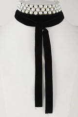 "80"" faux pearl black velvet tie choker collar necklace multi layered tiered"